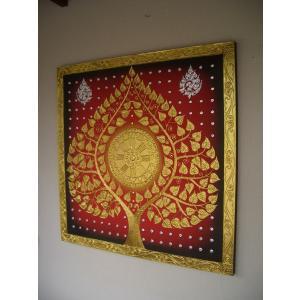 アジアンアート ペイントアートフレーム 100×100 タイオリエンタルモダン 絵画 壁飾り|store-monsoon