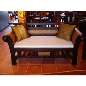 木製ソファ アジアン家具 ベンチソファ  レトロ調木製ソファー アンティーク オリエンタル |store-monsoon