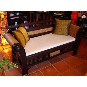 木製ソファ アジアン家具 ベンチソファ  レトロ調木製ソファー アンティーク オリエンタル |store-monsoon|02