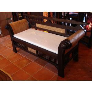 木製ソファ アジアン家具 ベンチソファ  レトロ調木製ソファー アンティーク オリエンタル |store-monsoon|03