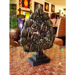 木製菩提樹オブジェ タイ オブジェ 置物 インテリア アジアン雑貨 木製 木彫り|store-monsoon