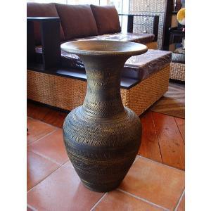 アジアンオブジェ  タイ  壺  H64 陶器 焼き物 花器 花瓶 ツボ 玄関 インテリア|store-monsoon