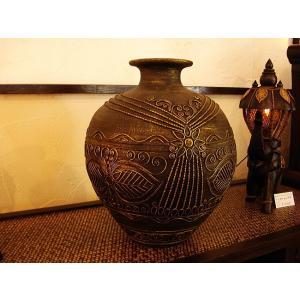 アジアンインテリア アジアンオブジェ  【タイ ・ ジャー(壺) H37】陶器 焼き物 花器 花瓶|store-monsoon