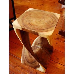 チーク ツイスト スツール アジアン家具  チェア 椅子 サイドテーブル 花台 オブジェ|store-monsoon