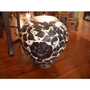 アジアンインテリア アジアンオブジェ  【タイ ・ ジャー(壺) 】陶器 焼き物 花器 花瓶|store-monsoon