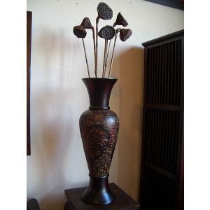 アジアン花瓶 アジアンオブジェ  【マンゴーウッドベース H61 】 フラワーベース 木製花瓶 花器 オブジェ|store-monsoon