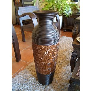 アジアン花瓶 アジアンオブジェ  【マンゴーウッドベース H62 】 フラワーベース 木製花瓶 花器 オブジェ|store-monsoon