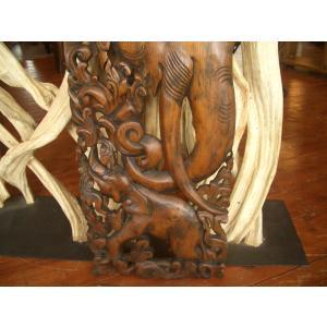 木彫りレリーフ 木製レリーフ 木製パネル 彫刻 オブジェ 象 デコレーション アジアン雑貨 store-monsoon 03
