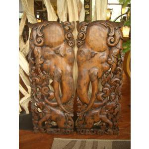 木彫りレリーフ 木製レリーフ 木製パネル 彫刻 オブジェ 象 デコレーション アジアン雑貨 store-monsoon 04