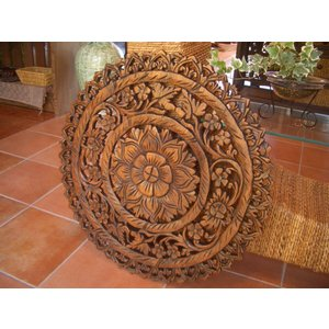 木製レリーフ  木彫りレリーフ アジアン雑貨 壁掛け アートパネル 彫刻 オブジェ 天然木|store-monsoon