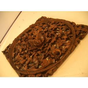 木彫りレリーフ 木製レリーフ 木製パネル 彫刻 オブジェ デコレーション アジアン雑貨|store-monsoon|02