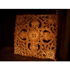 アジアン雑貨 木彫りレリーフ 【ウッドカーヴィン スクエアー 】アジアンレリーフ 木製レリーフ 壁飾り|store-monsoon