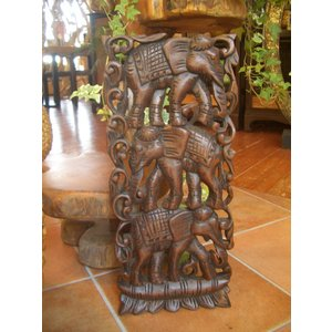 アジアン雑貨 木彫りレリーフ 【ウッドカーヴィン 象 】アジアンレリーフ 木製レリーフ 壁飾り|store-monsoon
