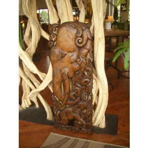 木彫りレリーフ 木製レリーフ 木製パネル 彫刻 オブジェ 象 デコレーション アジアン雑貨|store-monsoon