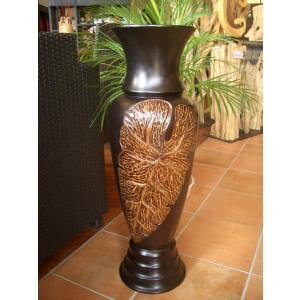 アジアン花瓶 アジアンオブジェ  【マンゴーウッドベース H77】 フラワーベース 木製花瓶 花器 オブジェ モダン|store-monsoon