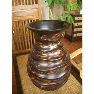 アジアンオブジェ   マンゴーウッドベース H36 フラワーベース 木製花瓶 花器 ツボ オブジェ モダン|store-monsoon