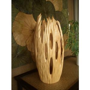 アジアン花瓶 アジアンオブジェ  【マンゴーウッドベース H46】 フラワーベース 木製花瓶 花器 オブジェ モダン|store-monsoon
