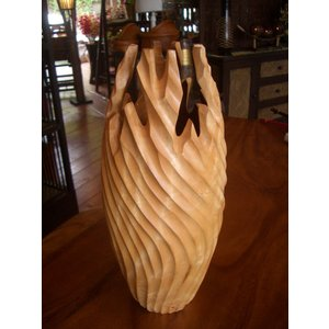 アジアン花瓶 アジアンオブジェ  【マンゴーウッドベース H41】 フラワーベース 木製花瓶 花器 オブジェ モダン|store-monsoon