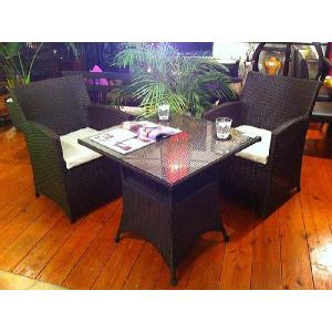 SALE!! アジアン家具 バリ島 ◆ブラックPVCチェア&テーブルセット◆シンセティックラタン 人工ラタン アウトドア家具 ガーデン家具|store-monsoon