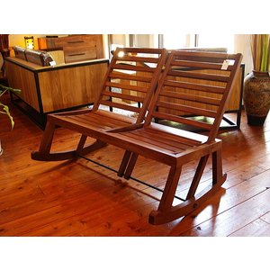 ロッキングチェアー チーク 天然木 木製 椅子 ベンチ アジアン家具 2人用|store-monsoon