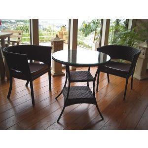 アジアン家具 ガーデン家具 ◆シンセティックラタン テーブル3点セット◆ テーブル、チェアー 椅子 人工ラタン アウトドア家具|store-monsoon