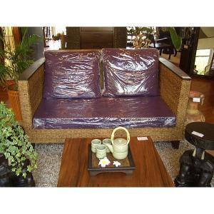 アウトレットSALE!  ソファ ソファー アジアン家具◆ウォーターヒヤシンス×チーク 2人用  二人掛け ◆|store-monsoon