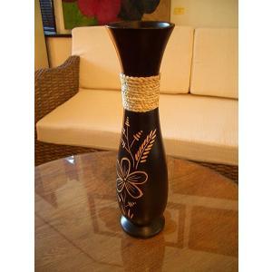 アジアンインテリア アジアンオブジェ エスニックインテリア 【マンゴーウッドベースA  H38 】フラワーベース 木製花瓶 花器 花瓶|store-monsoon