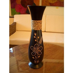 アジアンインテリア アジアンオブジェ エスニックインテリア 【マンゴーウッドベースC  H38 】フラワーベース 木製花瓶 花器 花瓶|store-monsoon