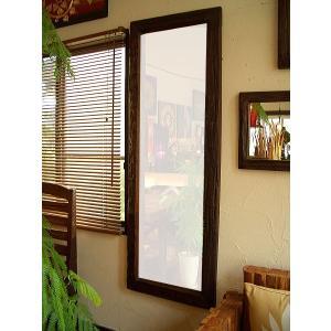 アジアン雑貨 鏡 (H153) チーク無垢 古木ミラー 木製 姿見 アジアンインテリア アジアン家具|store-monsoon
