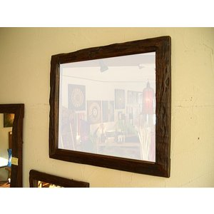 アジアン雑貨 鏡 ミラー 木製 無垢【オールドチークフレーム ミラー 53×63】 アジアンインテリア|store-monsoon