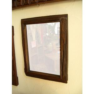 アジアン雑貨 鏡 ミラー 木製 古木 無垢【オールドチークフレーム ミラー 37×47】 アジアンインテリア|store-monsoon