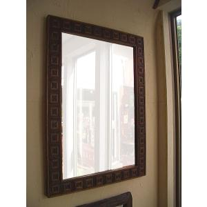 アジアン雑貨 鏡 ミラー  【木製彫刻フレーム ミラー 90×64】 アジアンインテリア 姿見|store-monsoon