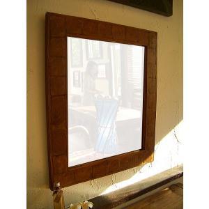 アジアン雑貨 鏡 ミラー 木製 【チークフレーム ミラー 54×63】 アジアンインテリア カントリー 北欧風|store-monsoon