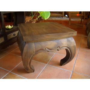無垢材 オピウムテーブル 50cm×50cm アジアン家具 ローテーブル 座卓 木製 正方形テーブル ちゃぶ台 ■送料無料|store-monsoon