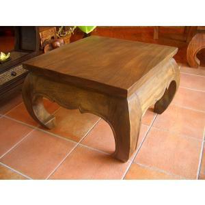 無垢材 オピウムテーブル 60cm×60cm アジアン家具 ローテーブル 木製 正方形テーブル ちゃぶ台 ■送料無料|store-monsoon