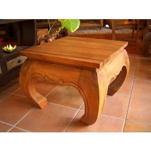 無垢材 オピウムテーブル 50cm×50cm アジアン家具 ローテーブル 木製 正方形テーブル ちゃぶ台 ■送料無料|store-monsoon
