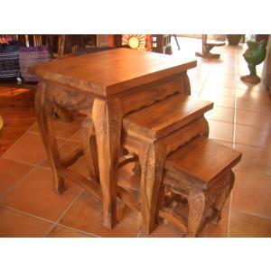 木製テーブル3点セット カフェテーブル サイドテーブル ナイトテーブル アジアン家具 |store-monsoon