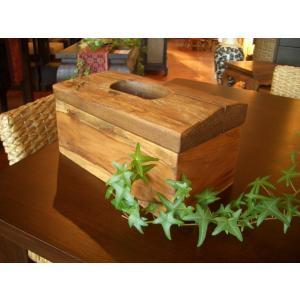 アジアン雑貨 チークティッシュケース 木製 ハンドメイド 古木 カントリー オールドチーク|store-monsoon