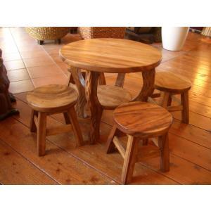 キッズ用テーブルセット テーブル5点セット 子供用 アジアン家具 木製テーブル |store-monsoon