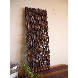 アジアン雑貨 ウッドレリーフ 彫刻 【 ウッドカービング 90×30】 立体 木彫り|store-monsoon