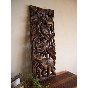 アジアンインテリア アジアン雑貨 彫刻 【 ウッドカーヴィン 90×30 】 ウッドレリーフ 立体 木彫り|store-monsoon