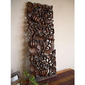 アジアンインテリア アジアン雑貨 【 ウッドカーヴィン 90×30 】 ウッドレリーフ 木彫り ハンドメイド 壁飾り|store-monsoon