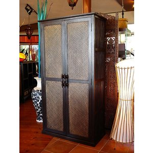 アジアン家具 ◆ クローゼット H160 ◆ 木製家具 棚 書棚 キャビネット  チェスト 収納家具 アンティーク調|store-monsoon