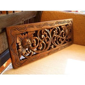 アジアン雑貨 木彫りレリーフ 【ウッドカーヴィン 17×45 】アジアンレリーフ 木製レリーフ 壁飾り|store-monsoon