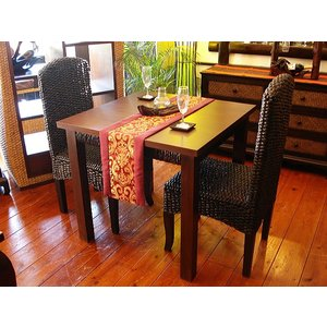 アジアン家具 バリ島 ◆ウォーターヒヤシンスダイニングテーブル3点セット◆ 木製ダイニング チェアー|store-monsoon