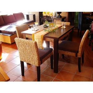 アジアン家具 バリ島 ◆ウォーターヒヤシンスダイニングテーブル5点セット◆ 木製ダイニング チェアー|store-monsoon