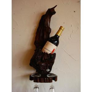 ワインホルダー ワインラック 木製 古木 おしゃれ カフェ ワイングラスホルダー |store-monsoon