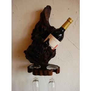 ワインホルダー ワインラック 木製 古木 おしゃれ カフェ ワイングラスホルダー|store-monsoon