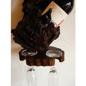 ワインホルダー ワインラック 木製 古木 おしゃれ カフェ ワイングラスホルダー|store-monsoon|02
