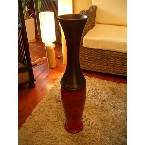 アジアン花瓶 アジアンオブジェ  【マンゴーウッドベース H77 】大型木製花瓶 花器|store-monsoon